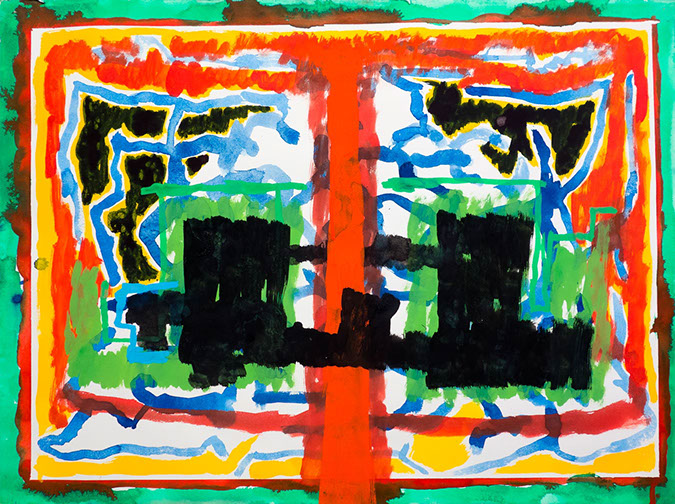 Gouache and watercolor painting on paper that uses contrasting patterns and vivid colors to make a symmetrical image that invokes the A&M logo.