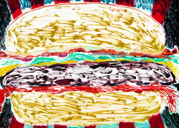 Multi run monoprint on paper that uses saturated yet washy colors show a giant hamburger that is moving out at the viewer at speed.