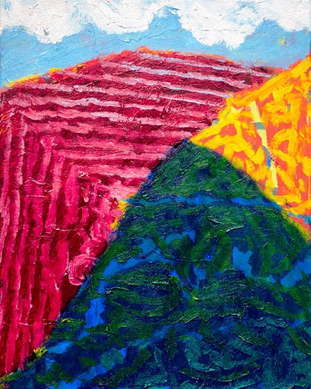 A painting with big pattern hills in primary colors and white fluffy clouds overhead.
