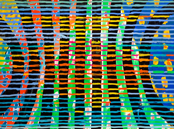 Gouache and watercolor painting on paper that uses contrasting patterns and vivid colors to make a vibrating field.