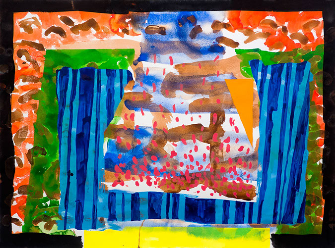 Gouache and watercolor painting on paper that uses contrasting patterns and vivid colors to make particles that drift out of a jar.