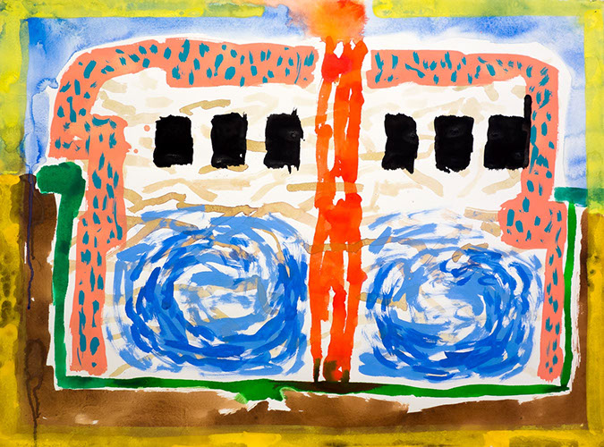 Gouache and watercolor painting on paper that uses contrasting patterns and vivid colors to make a bus that is stuck in the earth.
