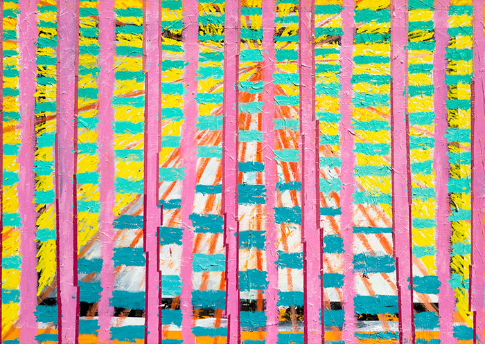A painting where vertical magenta bars mask a receding pyramid shape that is blasting out red rays and a checkered yellow and sea foam pattern.