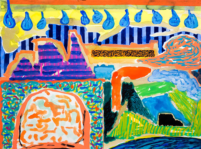 Gouache and watercolor painting on paper that uses contrasting patterns and vivid colors to make semi-abstract landscapes.
