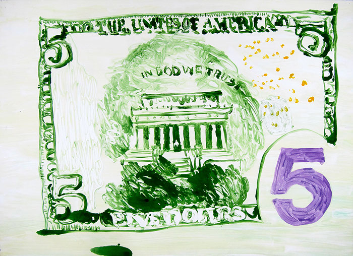 Multi run monoprint on paper that uses saturated yet washy colors to show a shoddy reproduction of a five dollar bill.