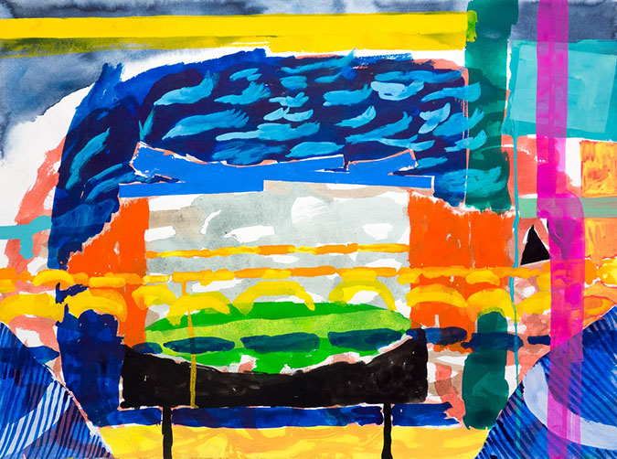 Gouache and watercolor painting on paper that uses contrasting patterns and vivid colors to make a stage-like space.