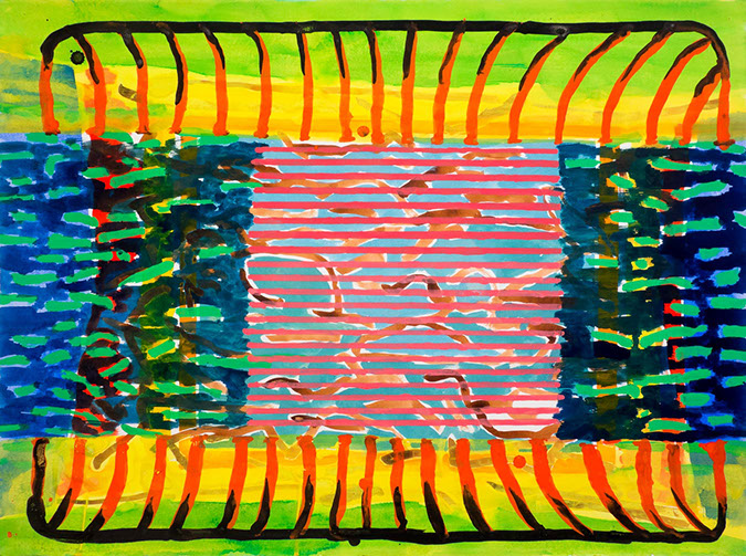 Gouache and watercolor painting on paper that uses contrasting patterns and vivid colors to depict the inside of a microwave oven.