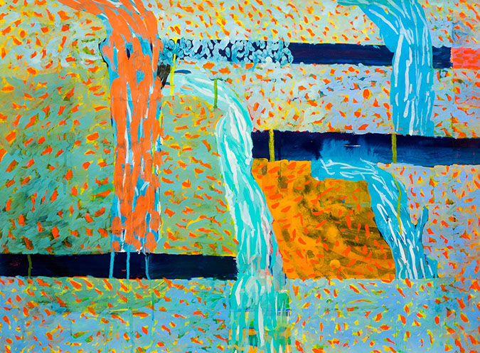 Gouache and watercolor painting on paper that uses contrasting patterns and vivid colors to make waterfall shapes falling in a void.