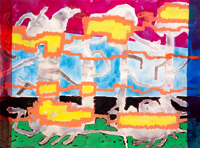 Gouache and watercolor painting on paper that uses contrasting patterns and vivid colors to make a crawling landscapoe of cloud sculptures.