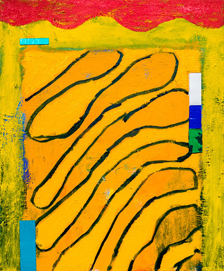 Swooping yellow forms in this painting explicate the banality of website design and there are big dumb colorful taped off buttons on the sides.